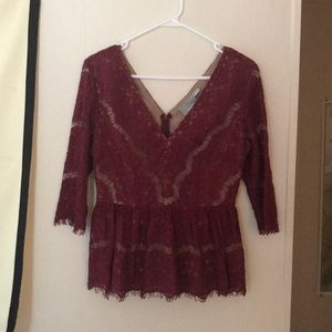 Anthropologie S Top Wine Red Lace Peplum